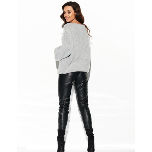 Sweter z dużym dekoltem LSG111 Lemoniade showroom Odzież Damska GF szary CYEL