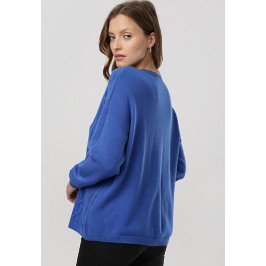 Sweter damski Born2be z okrągłym dekoltem Odzież Damska QR niebieski UWPK