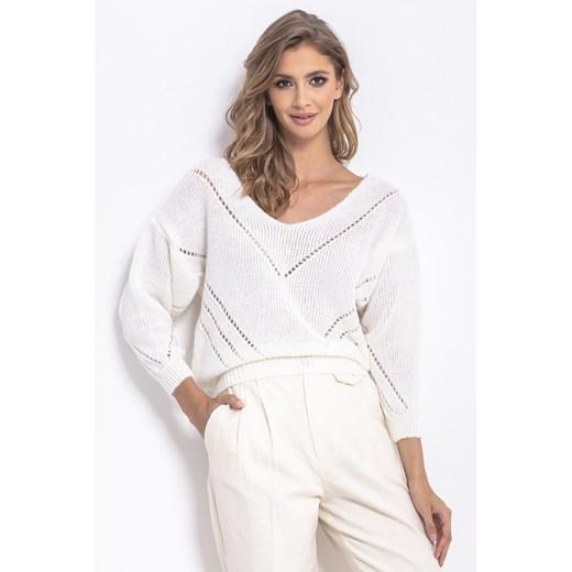 Sweter damski Fobya z dekoltem w serek Odzież Damska KT biały ISPN