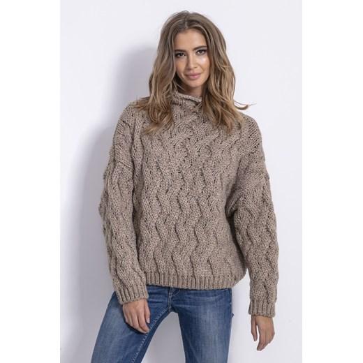 Sweter damski Fobya gładki Odzież Damska CN brązowy ONBV
