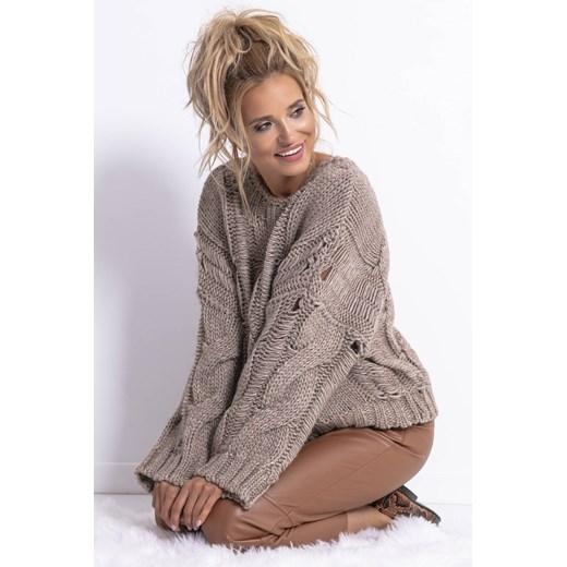 Sweter damski Fobya z okrągłym dekoltem casualowy Odzież Damska ZV brązowy AYIX