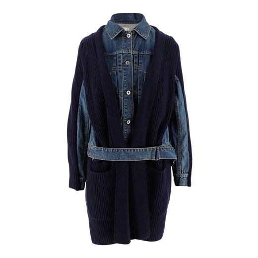 Cardi-coat with chunky ribbed knit Sacai okazja showroom Odzież Damska QQ niebieski NNCF