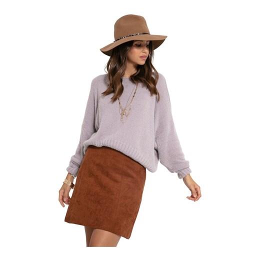 Krótki sweterek Fobya showroom Odzież Damska MK fioletowy YYFB