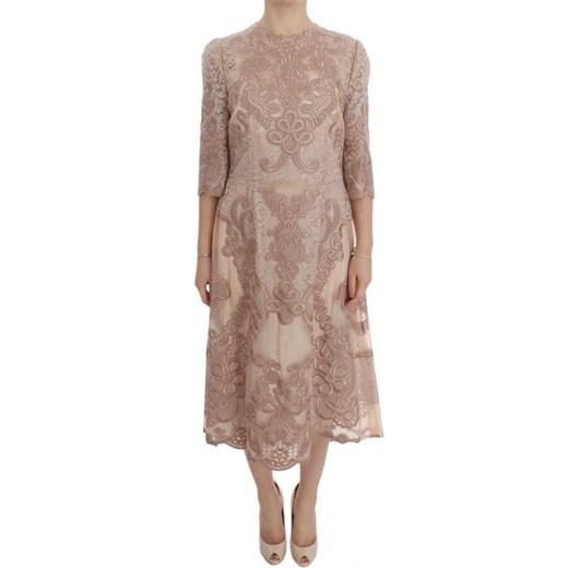 Silk Lace Ricamo Shift Gown Dress Dolce & Gabbana promocja showroom Odzież Damska WH różowy IRQN