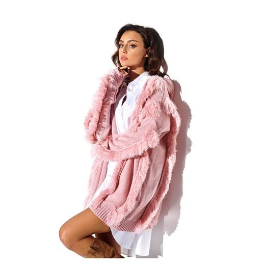 Kardigan z frędzlami Lemoniade showroom Odzież Damska HD różowy VFKY