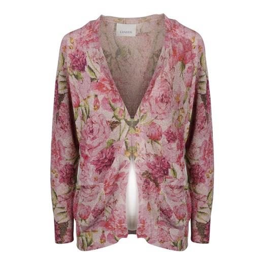 METALLIC FLORAL CARDIGAN Laneus showroom Odzież Damska FO różowy RJER