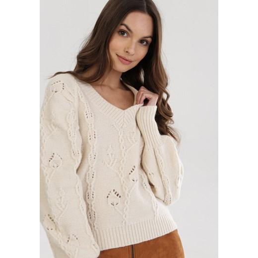 Sweter damski Born2be z dekoltem v Odzież Damska XP beżowy LLBR