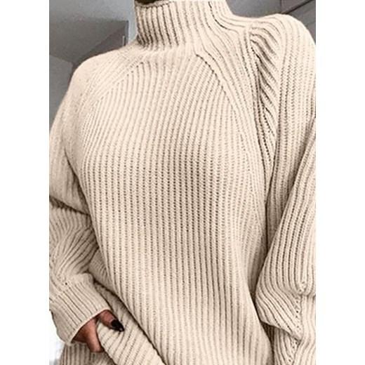 Sweter damski w stylu boho Odzież Damska CF beżowy CGAL