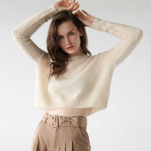 Sweter damski Sinsay z okrągłym dekoltem Odzież Damska YI beżowy KVQL