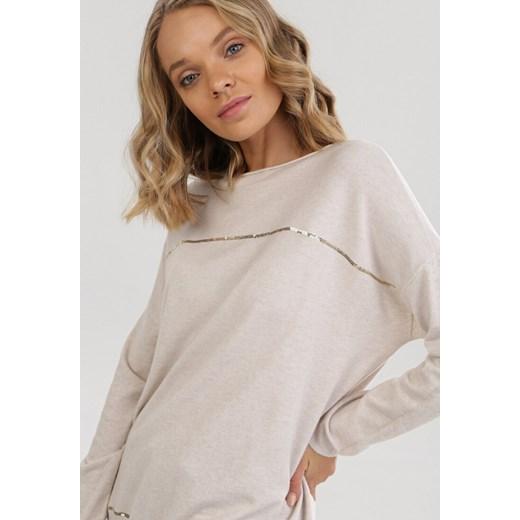 Sweter damski Born2be z okrągłym dekoltem Odzież Damska QI beżowy SVGS