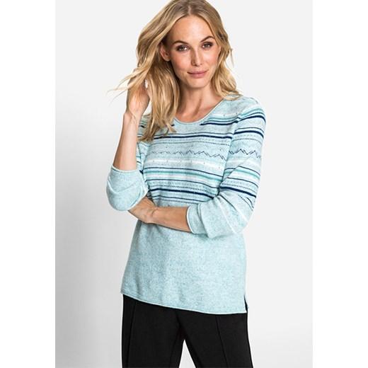 Sweter w paski Northern Glow 11003310 Miętowy 34 Olsen okazja Odzież Damska RT niebieski YQPY