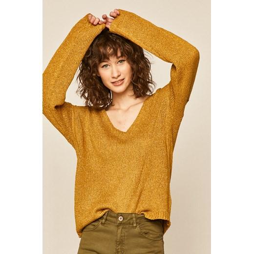 Sweter damski ze spiczastym dekoltem żółty Medicine wearmedicine Odzież Damska EW zielony INTH