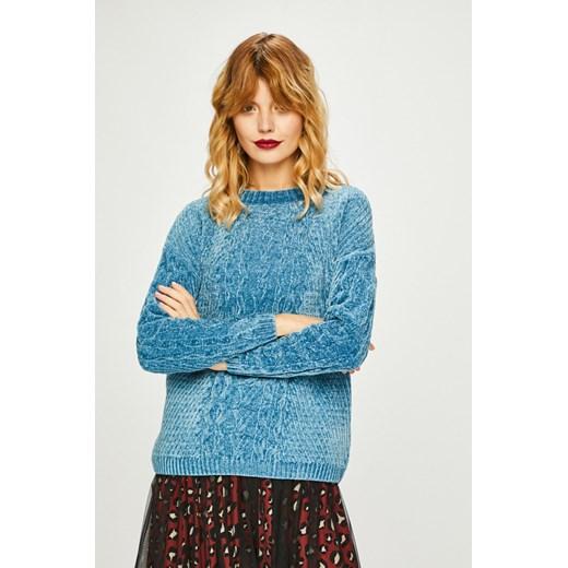 Sweter damski niebieski z warkoczowym splotem Medicine wyprzedaż wearmedicine Odzież Damska ZL turkusowy XFLJ