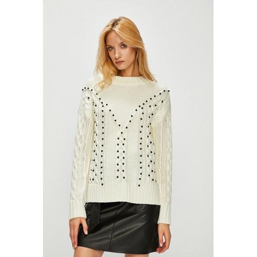 Sweter damski kremowy z ozdobnymi detalami Medicine wyprzedaż wearmedicine Odzież Damska MX beżowy IXRR