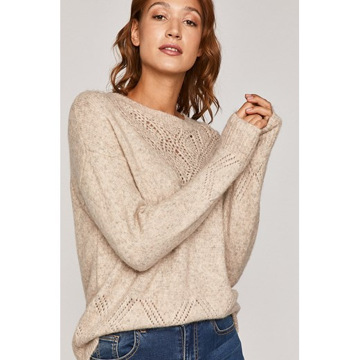 Sweter damski z ażurową wstawką beżowy Medicine wearmedicine Odzież Damska TU beżowy BHRD