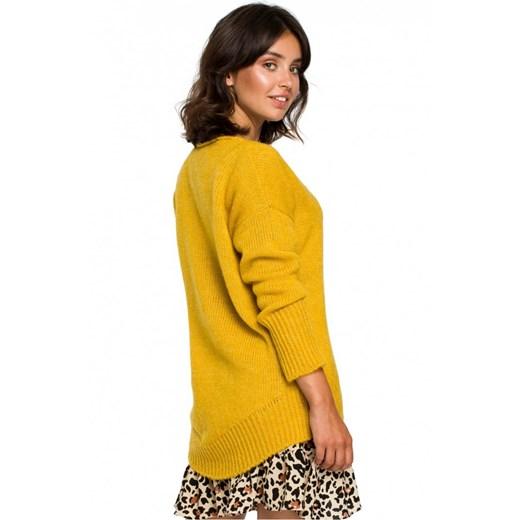 Sweter damski Be Knit z dekoltem w serek Odzież Damska MC żółty EGRN