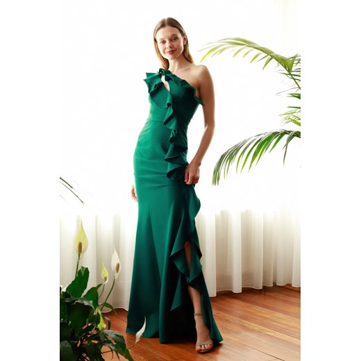 Trendyol Emerald Green Frill Detailed Evening Dress & Graduation Dress Trendyol 40 Factcool