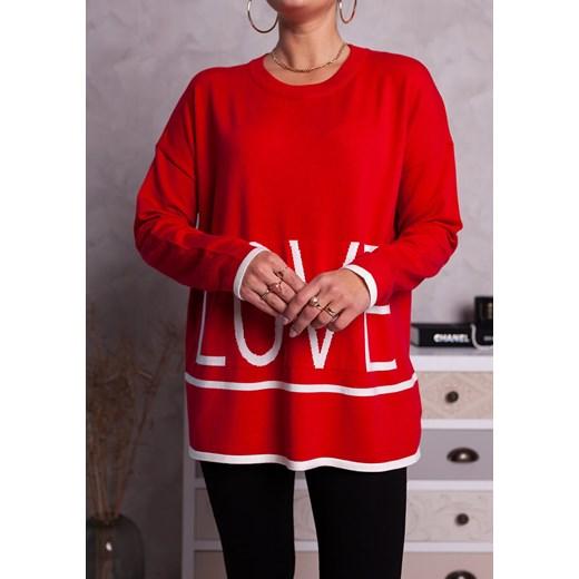 Sweter damski Moda Doris z okrągłym dekoltem Odzież Damska GM czerwony TLXS