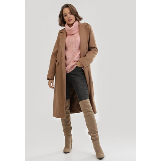 Sweter damski Born2be z wełny Odzież Damska JQ różowy BZVO