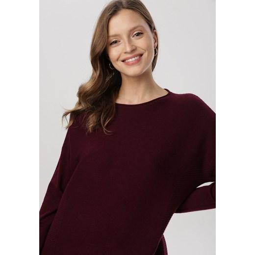 Sweter damski Born2be z okrągłym dekoltem Odzież Damska EK fioletowy GPJO
