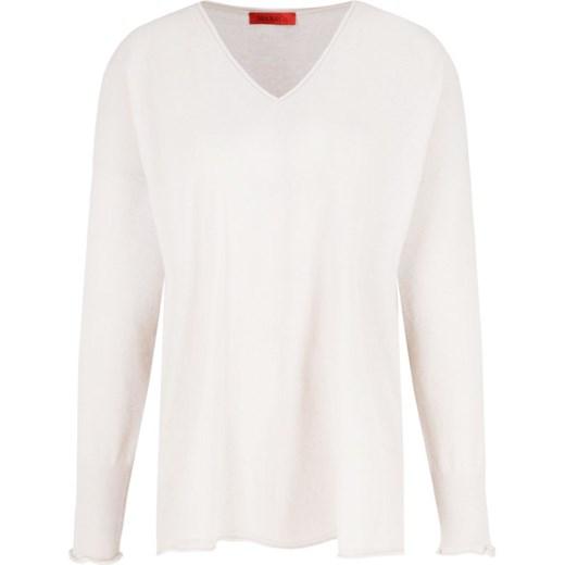 Sweter damski Max & Co. z dekoltem w literę v casual Odzież Damska YT biały ZBWY