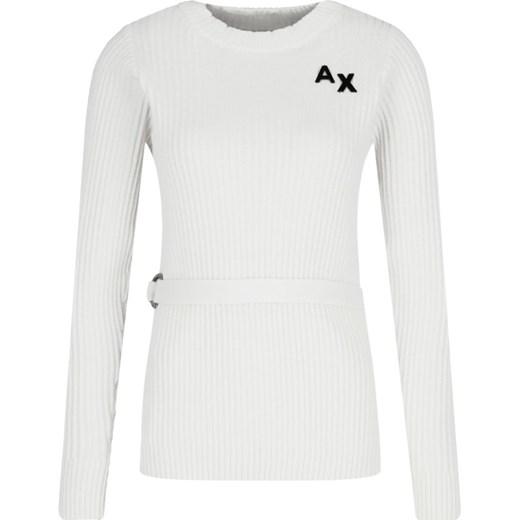 Sweter damski Armani Exchange casual z okrągłym dekoltem Odzież Damska VR biały UXCT