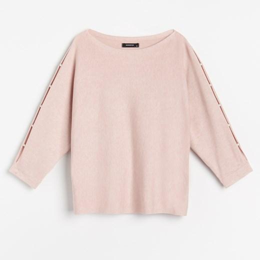 Sweter damski różowy Reserved z okrągłym dekoltem Odzież Damska RZ różowy EFJU