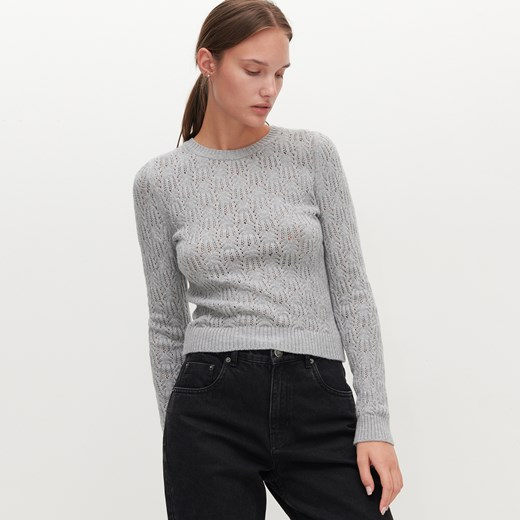 Sweter damski Reserved z okrągłym dekoltem Odzież Damska DA szary AFFI