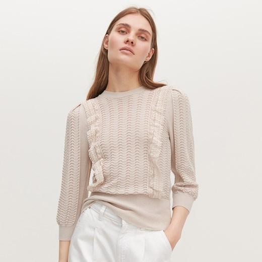 Sweter damski Reserved z okrągłym dekoltem Odzież Damska LC beżowy XQVJ