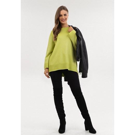 Sweter damski Born2be z okrągłym dekoltem Odzież Damska TW zielony AFRJ