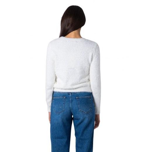 Sweter damski ONLY z okrągłym dekoltem Odzież Damska QU biały TAKX