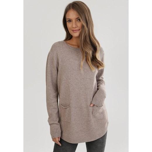 Sweter damski Born2be Odzież Damska HN beżowy BUGM