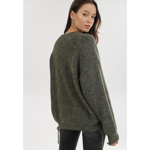 Sweter damski Born2be Odzież Damska ZA zielony XONM
