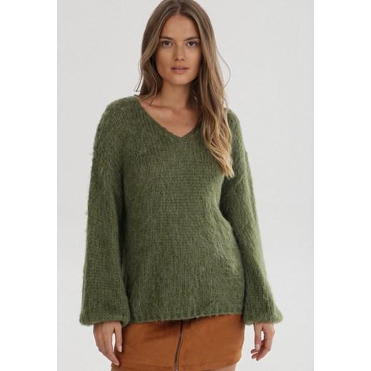 Sweter damski Born2be z dekoltem v Odzież Damska VV zielony JZXM