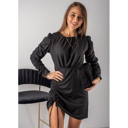 Sukienka Fason mini z długim rękawem Odzież Damska IY czarny QILL