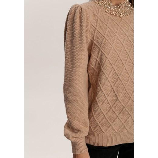 Sweter damski Renee gładki/gładka Odzież Damska BU beżowy ECIQ