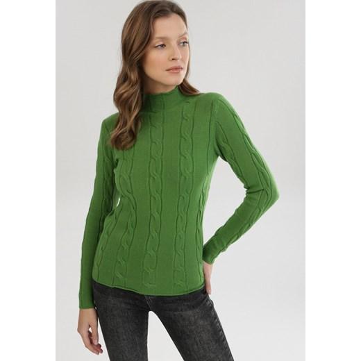 Sweter damski Born2be Odzież Damska HX zielony ZBWB