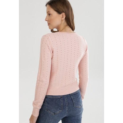 Born2be sweter damski z okrągłym dekoltem Odzież Damska SY różowy OCVZ
