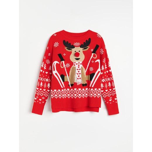 Sweter damski Reserved czerwony z okrągłym dekoltem Odzież Damska KN czerwony MTSY