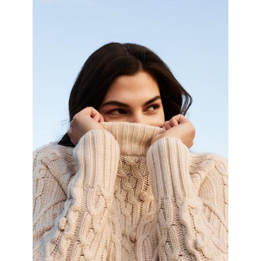 House - Sweter z warkoczowym splotem Kremowy Odzież Damska IU beżowy AEXW