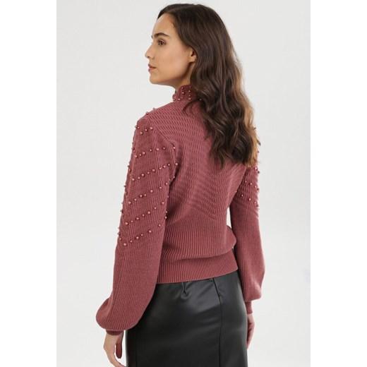 Sweter damski Born2be na zimę Odzież Damska QM czerwony AJRD