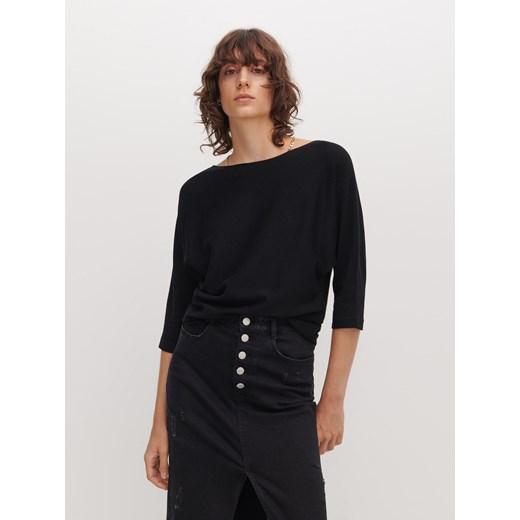 Sweter damski Reserved bez wzorów Odzież Damska YA czarny KAQK