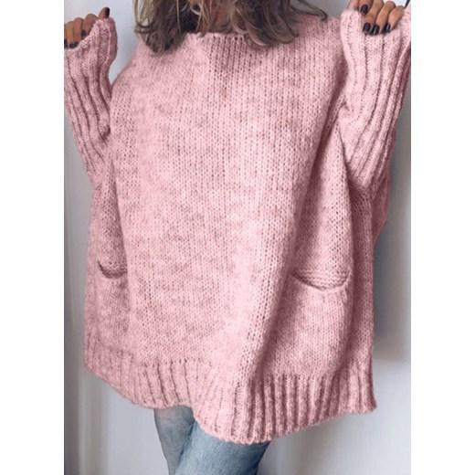 Sweter damski różowy Sandbella zimowy casual Odzież Damska SK różowy FNZW