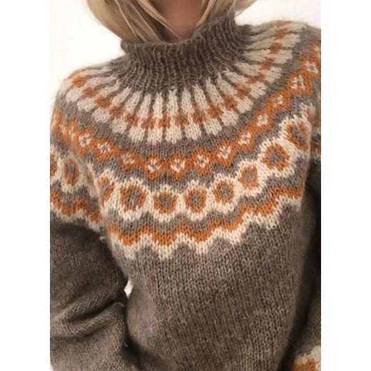 Sandbella sweter damski brązowy Odzież Damska XI brązowy ORVD