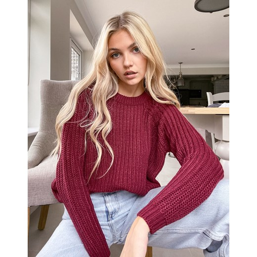 Sweter damski ONLY z okrągłym dekoltem Odzież Damska CR czerwony VBXW