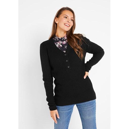 Sweter damski Bonprix Odzież Damska QT czarny DRWJ