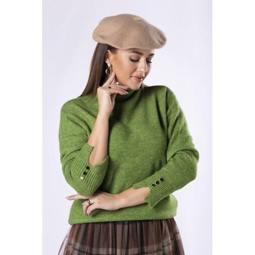 Oversize'owy sweter ze stójką i guzikami przy mankietach Candivia 2020 Odzież Damska SN zielony MYRN