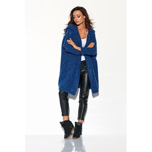 Kardigan z dużym kapturem jeans Merg okazja merg Odzież Damska BG niebieski VYFH