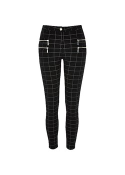 Black checked super skinny trousers