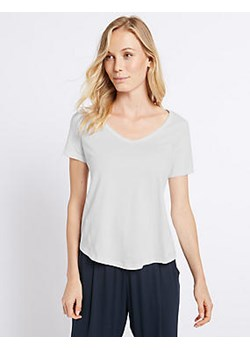 Pure Cotton V-Neck Short Sleeve T-Shirt